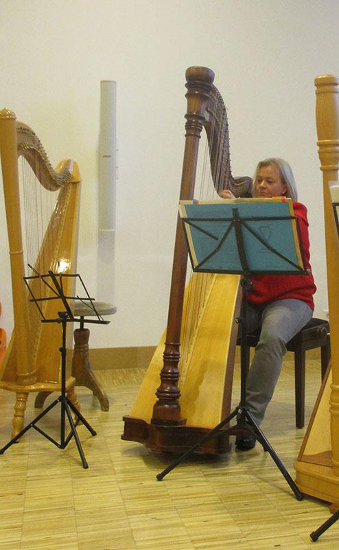 Beate Fürbacher an der Harfe