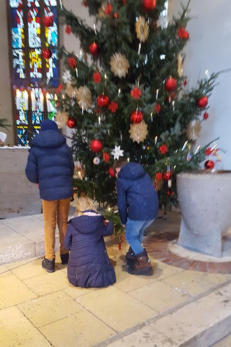Kinder pflücken Süßes vom Baum